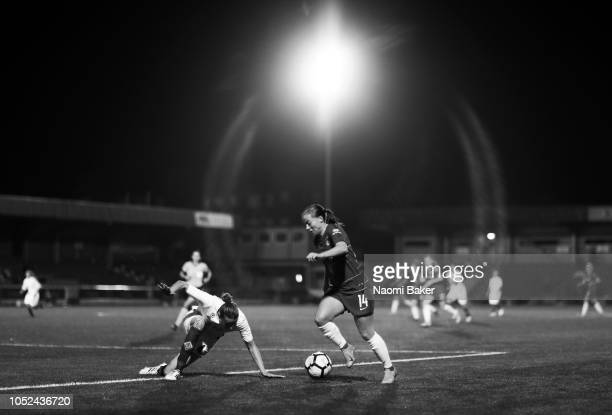 Francesca Kirby of Chelsea Women controls the ball during the UEFA Women's Champions League Round of 16 1st Leg match between Chelsea Women and...