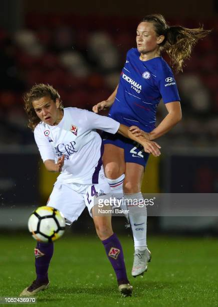 Francesca Kirby of Chelsea Women reacts after the half time whistle during the UEFA Women's Champions League Round of 16 1st Leg match between...