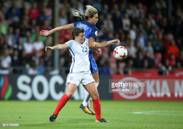 Francesca Kirby of England and Claire Lavogez of France during the UEFA Women's Euro 2017 quarter final match between England and France at Stadion...