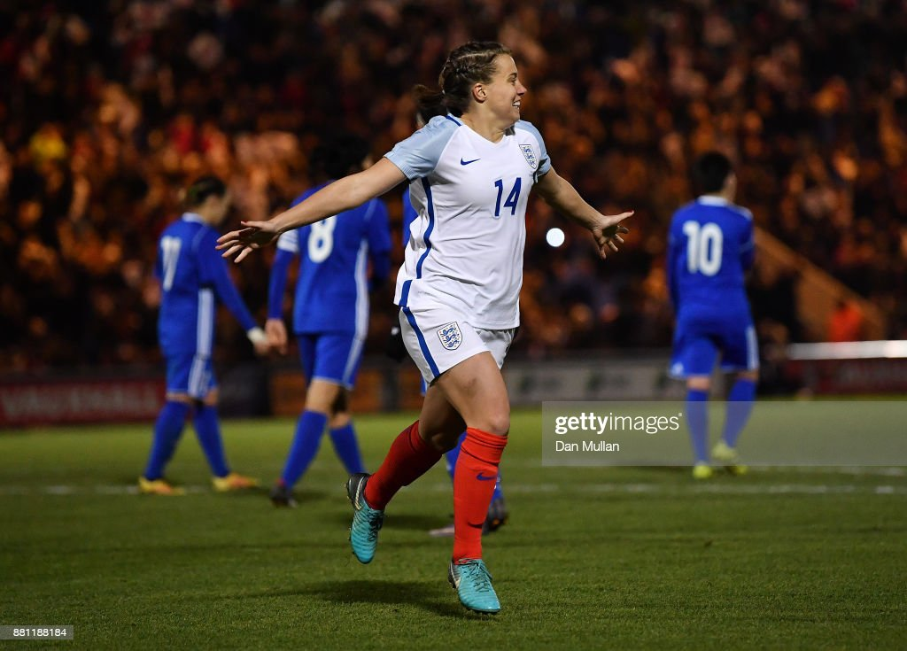 Francesca Kirby of England celebrates after scoring her side's second goal from the penalty spot during the FIFA Women's World Cup Qualifier between England and Kazakhstan at Weston Homes Community Stadium on November 28, 2017 in Colchester, England.