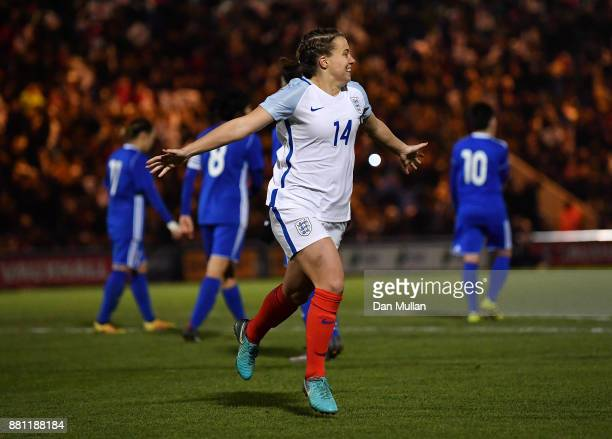Francesca Kirby of England celebrates after scoring her side's second goal from the penalty spot during the FIFA Women's World Cup Qualifier between...