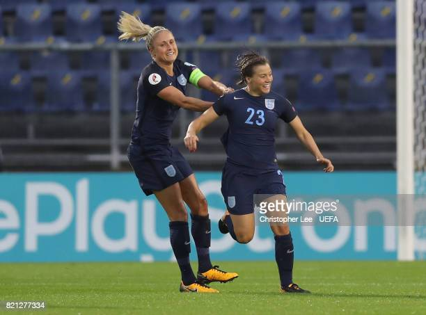 Francesca Kirby of England celebrates scoring their first goal Steph Houghton of England during the UEFA Women's Euro 2017 Group D match between...