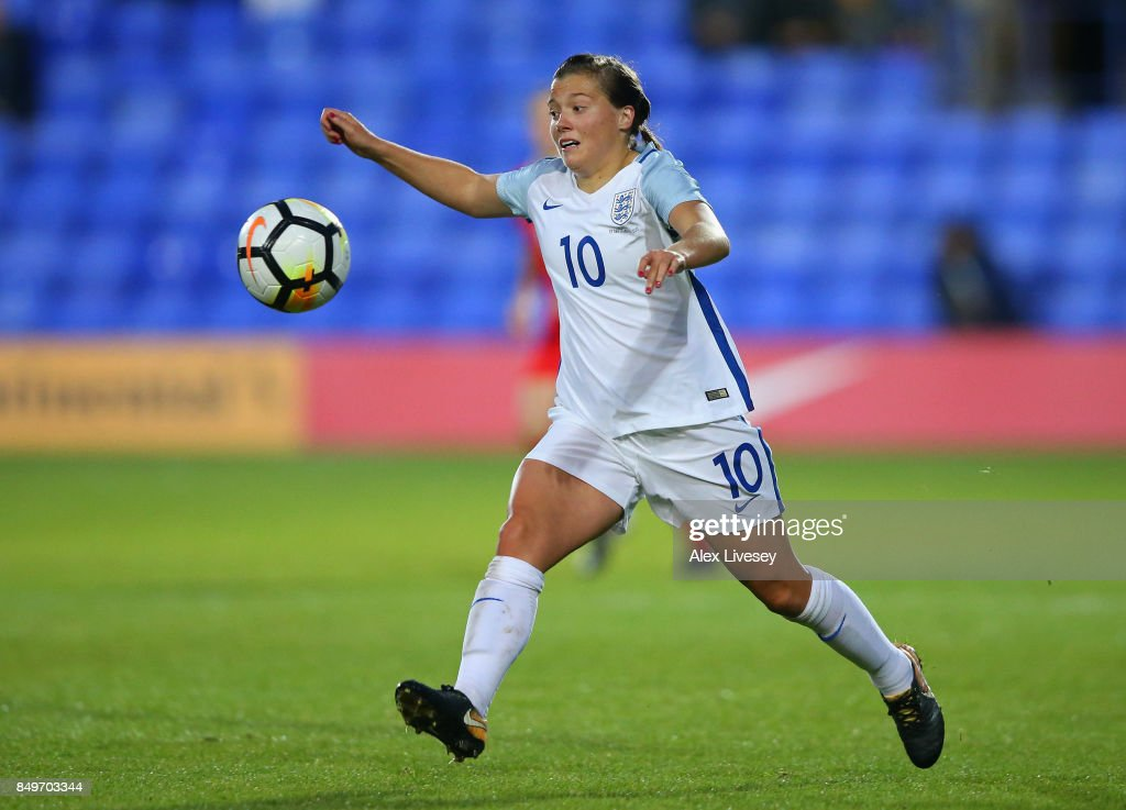 Francesca Kirby of England runs with the ball during the FIFA Women's World Cup Qualifier between England and Russia at Prenton Park on September 19, 2017 in Birkenhead, England.
