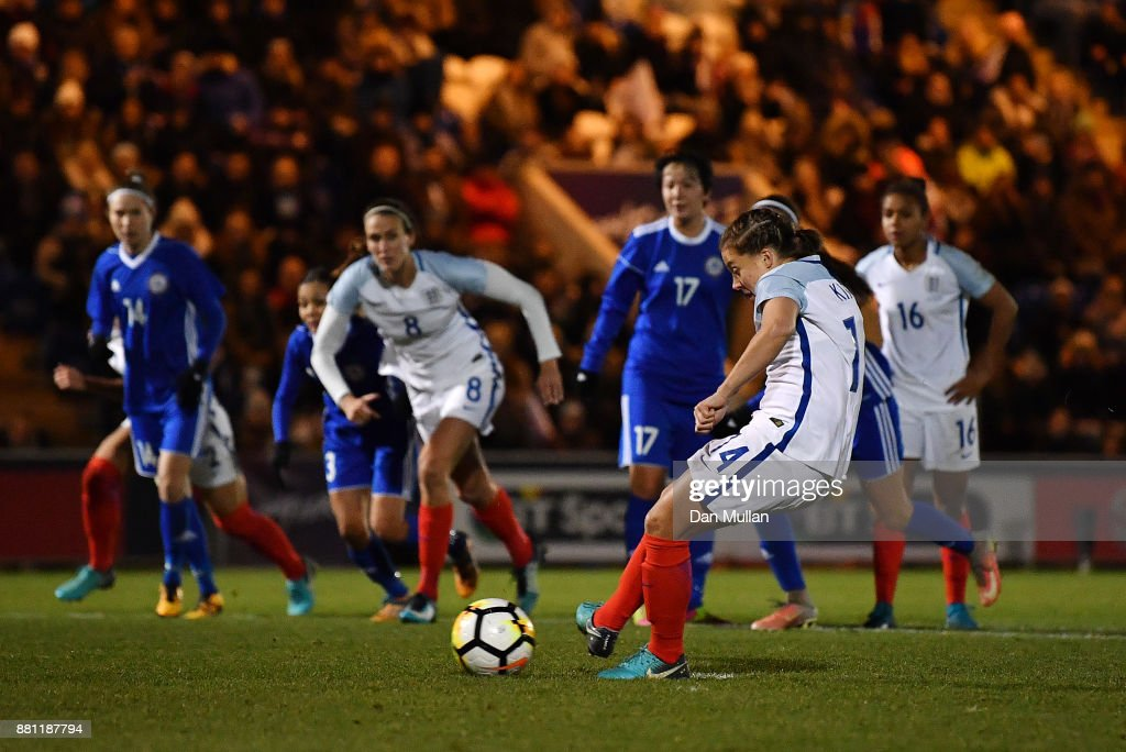 Francesca Kirby of England scores her side's second goal from the penalty spot during the FIFA Women's World Cup Qualifier between England and Kazakhstan at Weston Homes Community Stadium on November 28, 2017 in Colchester, England.