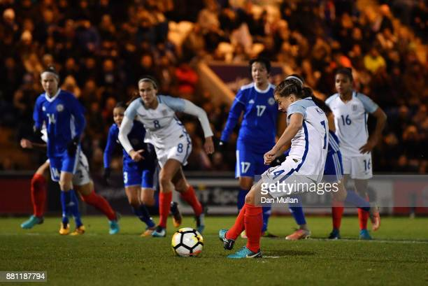 Francesca Kirby of England scores her side's second goal from the penalty spot during the FIFA Women's World Cup Qualifier between England and...