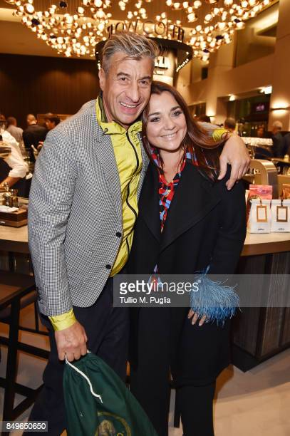 Francesca Lavazza and Maurizio Cattelan attend the Lavazza Coffee Design Party on September 19 2017 in Milan Italy