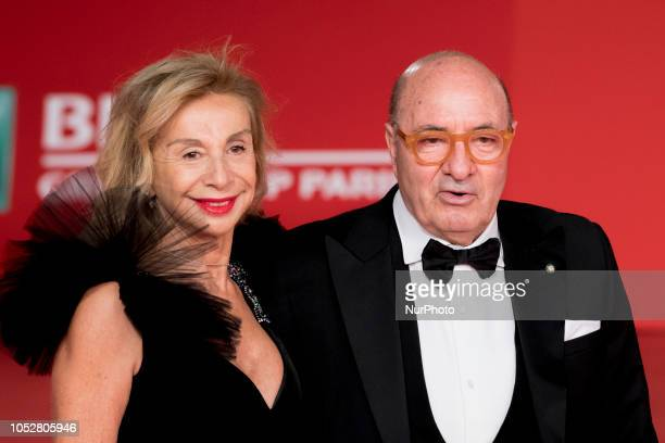 Francesca Lo Schiavo and Dante Ferretti walk the red carpet during the 13th Rome Film Fest at Auditorium Parco Della Musica on October 22 2018 in...