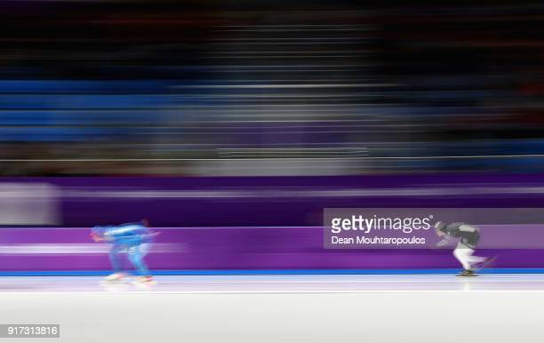 Francesca Lollobrigida of Italy and Mila Manganello of The United States compete during the Ladies 1,500m Long Track Speed Skating final on day three...