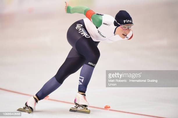 Francesca Lollobrigida of Italy competes during the Women's 1500m Division B race on day two of the ISU World Cup Speed Skating at Meiji...