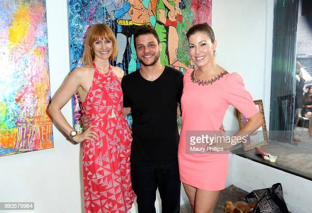 Francesca Manzi Mr Clever Art and Iris Almario attend Juxtapop A Love Story presented by Mr Clever Art at One One Six Two on July 7 2018 in Los...