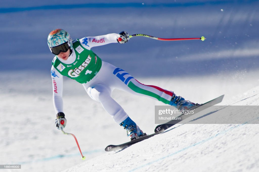 Francesca Marsaglia of Italy races down the Kandahar course whilst competing in the Audi FIS Alpine Ski World Cup downhill race on January 12, 2013 in St Anton, Austria.
