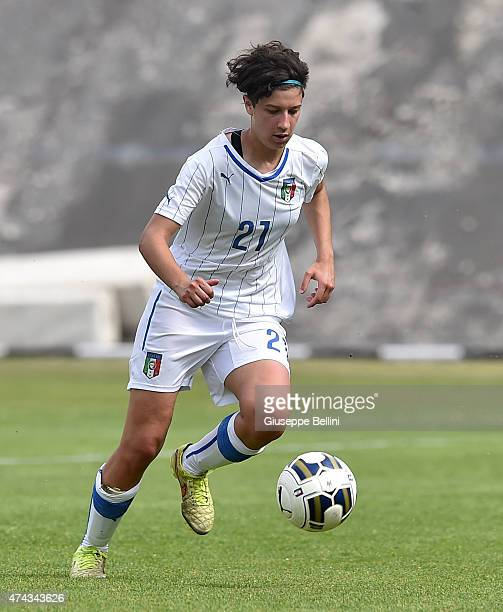 Francesca Mellano of Italy in action during the women's U19 match between Italy and Belgium at Stadio Tommaso Fattori on May 19, 2015 in L'Aquila,...