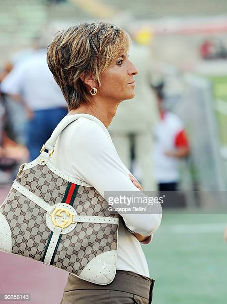 Francesca Menarini lady president of Bologna FC during the Serie A match between AS Bari and Bologna FC at Stadio San Nicola on August 29, 2009 in...