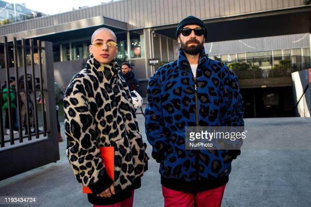 Francesca Mesiano aka California and Fausto Zanardelli aka Lama arrives at MSGM fashion show during the Milan Fashion Week 2020 in Milan, Italy, on...