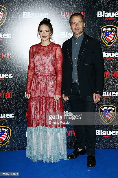Francesca Michielin and Claudio Santamaria attend the Cinema Under The Skin' Party hosted by Blauer and Vanity Fair during the 73rd Venice Film...