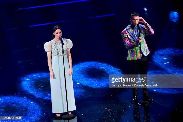 Francesca Michielin and Fedez are seen on stage during at the 71th Sanremo Music Festival 2021 at Teatro Ariston on March 06, 2021 in Sanremo, Italy.