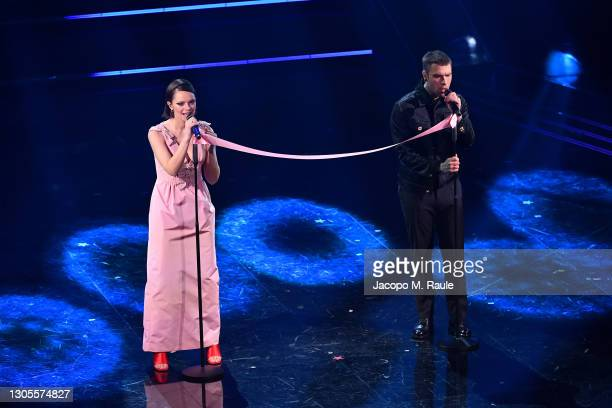Francesca Michielin and Fedez are seen on stage during the 71th Sanremo Music Festival 2021 at Teatro Ariston on March 05, 2021 in Sanremo, Italy.