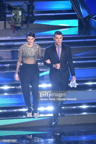Francesca Michielin and Fedez perform at the 71th Sanremo Music Festival 2021 at Teatro Ariston on March 02, 2021 in Sanremo, Italy.