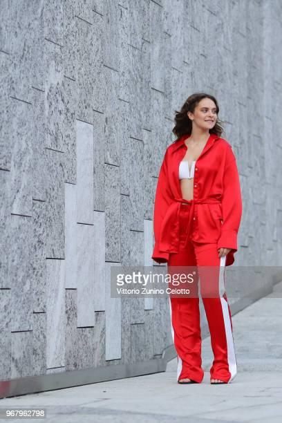 Francesca Michielin arrives at Convivio 2018 on June 5 2018 in Milan Italy on June 5 2018 in Milan Italy