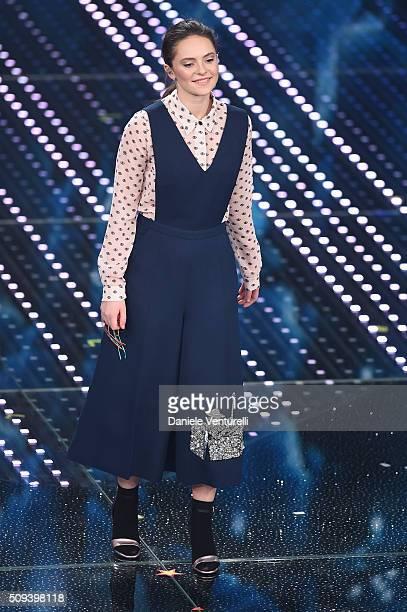 Francesca Michielin attends second night of the 66th Festival di Sanremo 2016 at Teatro Ariston on February 10 2016 in Sanremo Italy