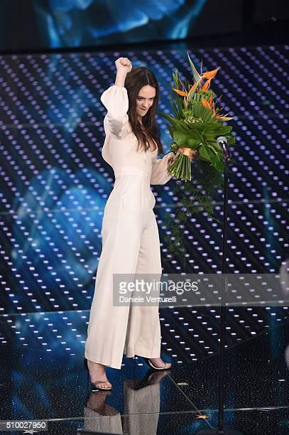 Francesca Michielin attends the closing night of 66th Festival di Sanremo 2016 at Teatro Ariston on February 13 2016 in Sanremo Italy