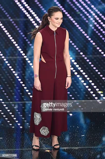 Francesca Michielin attends the fourth night of the 66th Festival di Sanremo 2016 at Teatro Ariston on February 12 2016 in Sanremo Italy