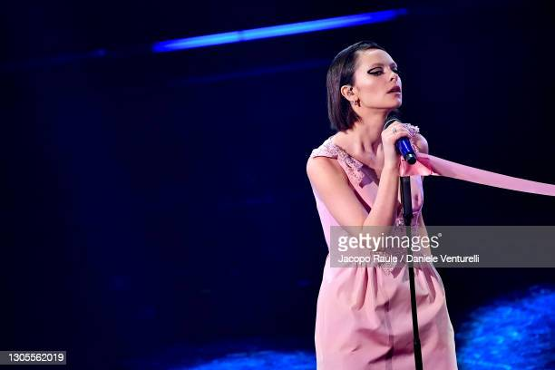 Francesca Michielin is seen on stage during the 71th Sanremo Music Festival 2021 at Teatro Ariston on March 05, 2021 in Sanremo, Italy.