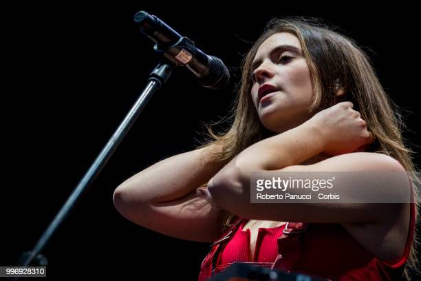 Francesca Michielin perform on stage on July 9 2018 in Rome Italy