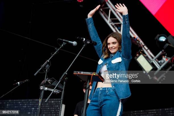 Francesca Michielin perform on stage on May 1 2018 in Rome Italy