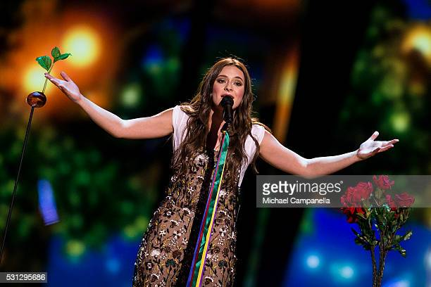 Francesca Michielin representing Italy performs the song No Degree Of Separation during the final dress rehearsal of the 2016 Eurovision Song Contest...