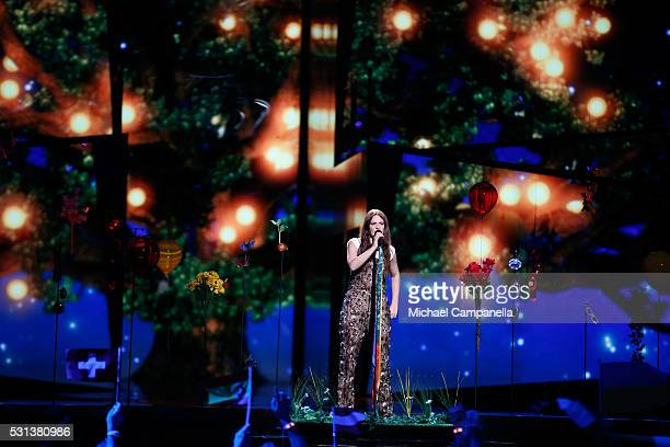 Francesca Michielin representing Italy performs the song No Degree Of Separation at the Ericsson Globe on May 14 2016 in Stockholm Sweden