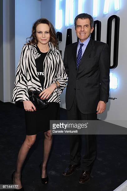 "Francesca Neri and Ferruccio Ferragamo attend ""Greta Garbo. The Mystery Of Style"" opening exhibition during Milan Fashion Week Womenswear A/W 2010 on..."