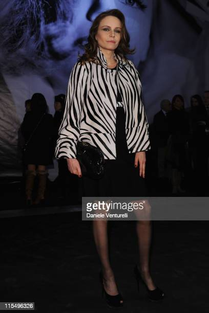 Francesca Neri attends the Salvatore Ferragamo Greta Garbo exhibition at the Triennale Museum during Milan Fashion Week Womenswear A/W 2010 on...