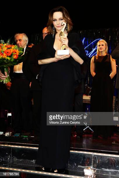 Francesca Neri with her award at the 'Notte Delle Stelle' during the 63rd Berlinale International Film Festival at the Maritim Hotel on February 15...