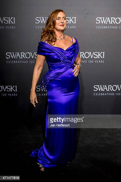 Francesca of Habsburg poses for a picture on the 'black' carpet of the grand reopening of the Swarovski Crystal Worlds on April 28 2015 in Wattens...