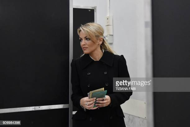 Francesca Pascale companion of Silvio Berlusconi leader of rightwing party Forza Italia leaves the polling booth to vote for general elections on...