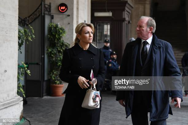Francesca Pascale companion of Silvio Berlusconi leader of rightwing party Forza Italia arrives at a polling station with a driver on March 4 2018 in...