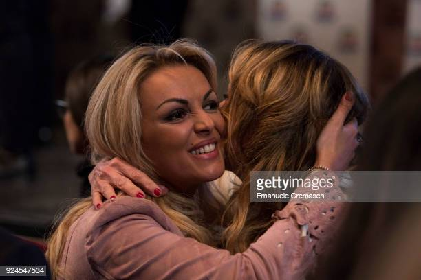 Francesca Pascale companion of Silvio Berlusconi President of Forza Italia and former Italian Prime Minister hugs a friend during a political rally...