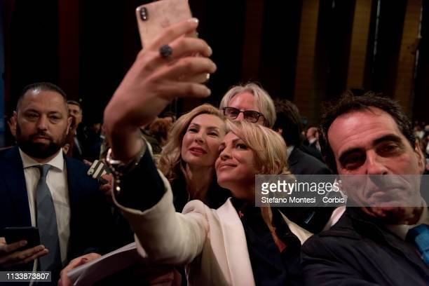 Francesca Pascale partner of Italy's former Prime Minister and Leader of Forza Italia Party Silvio Berlusconi attends a rally of Forza Italia Party...