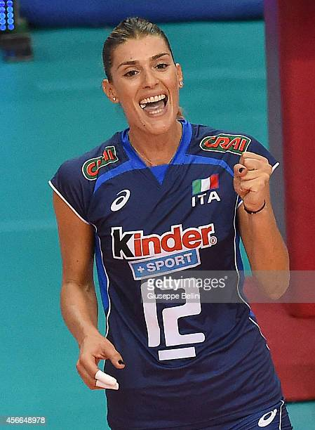 Francesca Piccinini of Italy celebrates during the FIVB Women's World Championship pool E match between Italy and Japan on October 4, 2014 in Bari,...