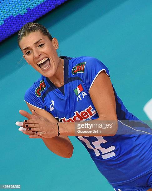 Francesca Piccinini of Italy celebrates during the FIVB Women's World Championship pool E match between Italy and China on October 5, 2014 in Bari,...
