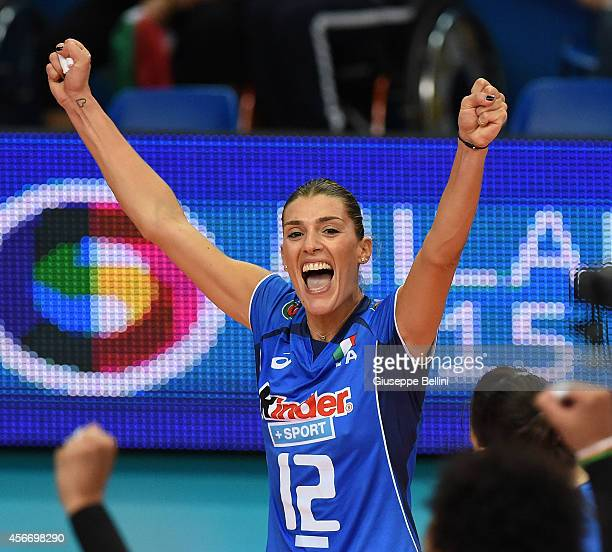 Francesca Piccinini of Italy celebrates the victory after the FIVB Women's World Championship pool E match between Italy and China on October 5, 2014...