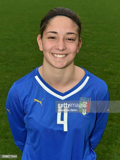 Francesca Quazzico of Italy poses during the official portrait session during stage of Italy Under 16 woman at Coverciano on January 13, 2016 in...