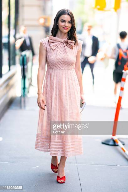 Francesca Reale is seen wearing a Red Valentino dress with Stuart Weitzman shoes outside the Build Studio on July 19 2019 in New York City