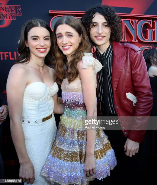 Francesca Reale Natalia Dyer and Finn Wolfhard attend the Stranger Things Season 3 World Premiere on June 28 2019 in Santa Monica California