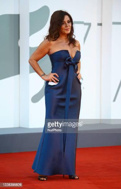 """Francesca Rettondini walks the red carpet ahead of the movie """"Sniegu Juz Nigdy Nie Bedzie"""" at the 77th Venice Film Festival on September..."""