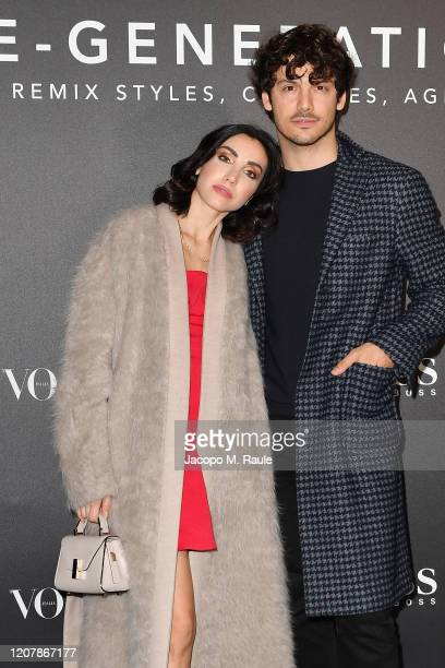 Francesca Rocco and Giovanni Masiero arrive for the BOSS VOGUE Italia Event at Hotel Viu Milan on February 21 2020 in Milan Italy