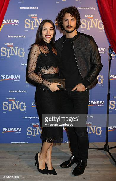 Francesca Rocco and Giovanni Masiero attend a photocall for 'Sing' on December 13 2016 in Milan Italy