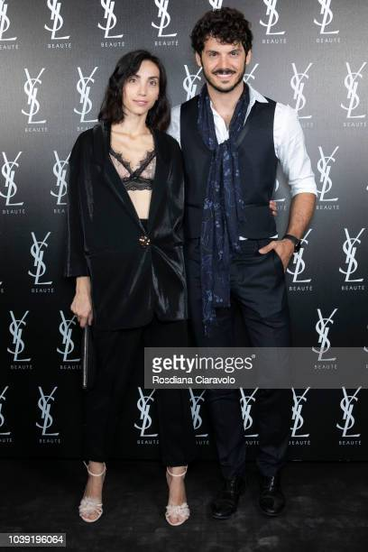 Francesca Rocco and Giovanni Masiero attend Ysl Beauty Club Milan during Milan Fashion Week Spring/Summer 2019 on September 23 2018 in Milan Italy
