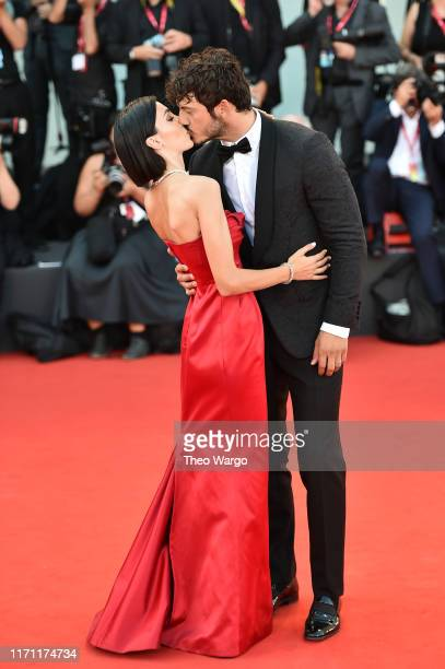 Francesca Rocco and Giovanni Masiero walk the red carpet ahead of the J'Accuse screening during the 76th Venice Film Festival at Sala Grande on...